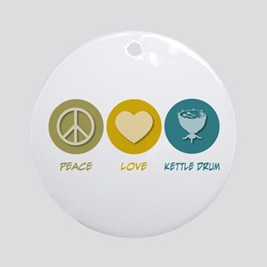 Peace Love Kettle Drum Ornament (Round)