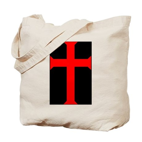 Red Cross/Black Background Tote Bag