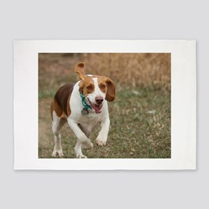 Beagle Running, 5'x7'Area Rug