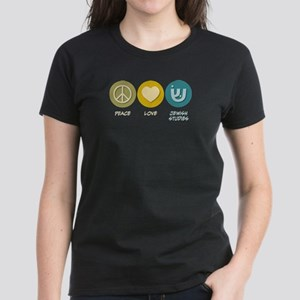 Peace Love Jewish Studies Women's Dark T-Shirt