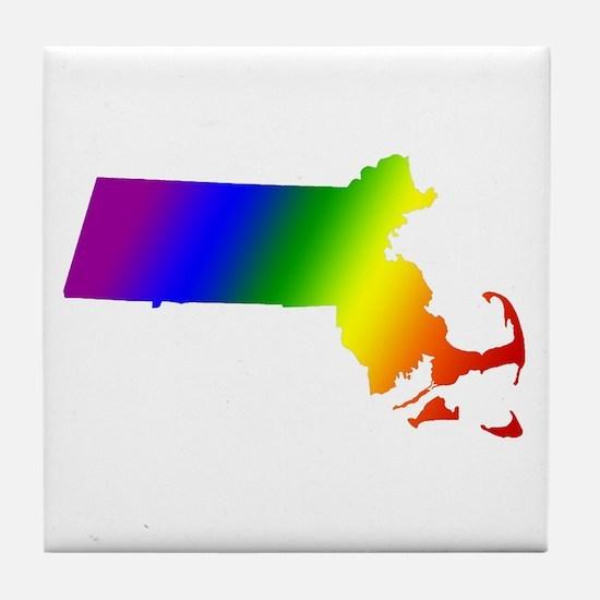 Massachusetts Gay Pride Tile Coaster
