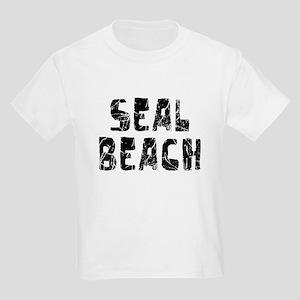 Seal Beach Faded (Black) Kids Light T-Shirt