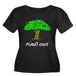 Plant A Tree Women's Plus Size Scoop Neck Dark T-S