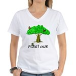 Plant A Tree Women's V-Neck T-Shirt
