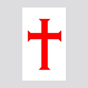Red Cross/White Background Rectangle Sticker