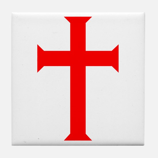 Red Cross/White Background Tile Coaster