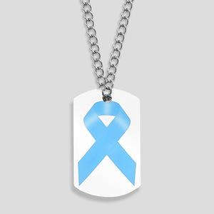 Light Blue Awareness Ribbon Dog Tags