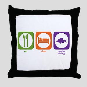 Eat Sleep Marine Biology Throw Pillow