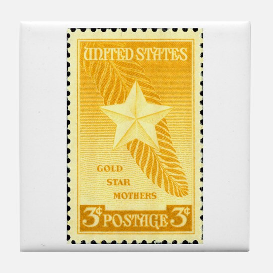 Gold Star Mothers Military Stamp Tile Coaster