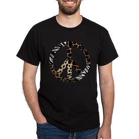 African Animal Pattern Peace Symbol T-Shirt