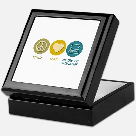 Peace Love Information Technology Keepsake Box