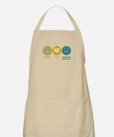 Peace Love Information Technology BBQ Apron