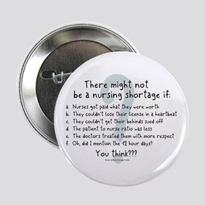 "Nursing Shortage Solution 2.25"" Button"