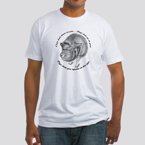 Pigs Look You Square in the Eye Fitted T-Shirt