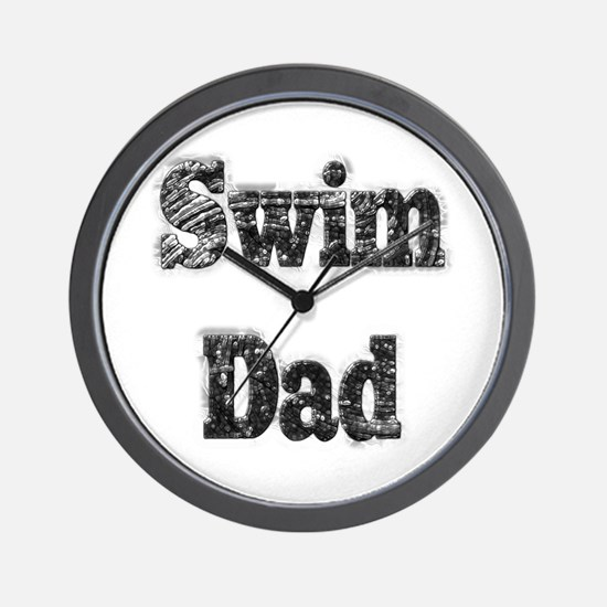 Swim Dad II BnW Wall Clock