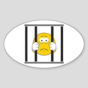 Prisoner Smiley Face Oval Sticker