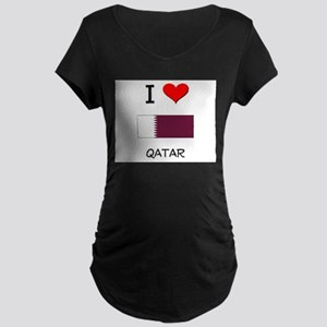 I Love Qatar Maternity Dark T-Shirt