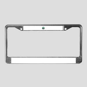 Moose in a green badge License Plate Frame