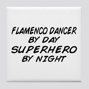 Flamenco Dancer Superhero by Night Tile Coaster