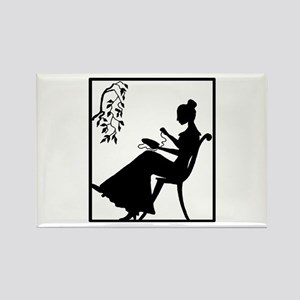 Silhouette Woman with Embroid Rectangle Magnet