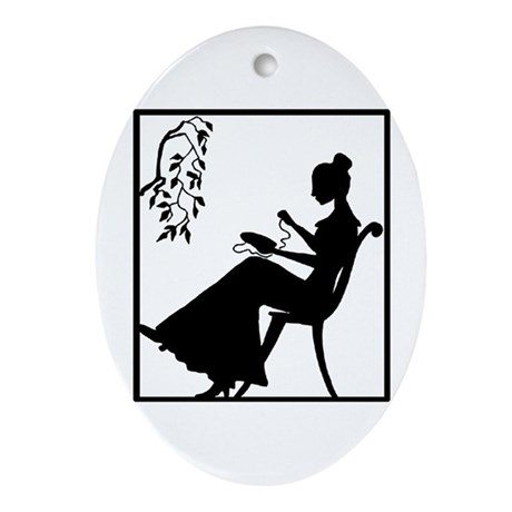Silhouette Woman with Embroid Oval Ornament