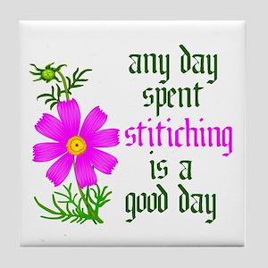 Any Day Spent Stitching - Goo Tile Coaster
