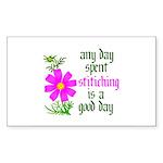 Any Day Spent Stitching - Goo Rectangle Sticker 1
