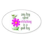 Any Day Spent Stitching - Goo Oval Sticker (10 pk)