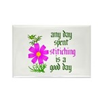 Any Day Spent Stitching - Goo Rectangle Magnet (10