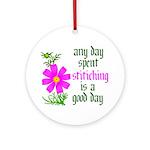 Any Day Spent Stitching - Goo Ornament (Round)