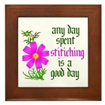 Any Day Spent Stitching - Goo Framed Tile