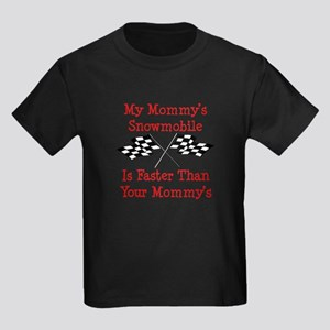 Mommys Snowmobile Is Fast Kids Dark T-Shirt