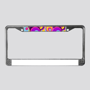 Retro Circles Groovy Colors License Plate Frame