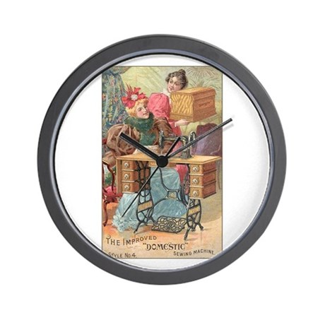 Vintage Sewing Machine Ad Wall Clock