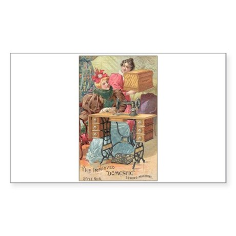 Vintage Sewing Machine Ad Rectangle Sticker 10 pk