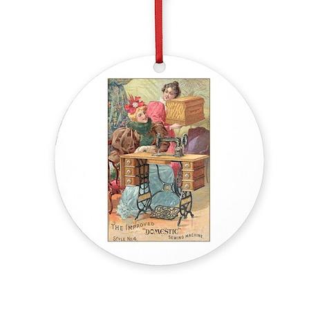 Vintage Sewing Machine Ad Ornament (Round)