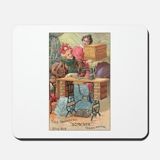 Vintage Sewing Machine Ad Mousepad