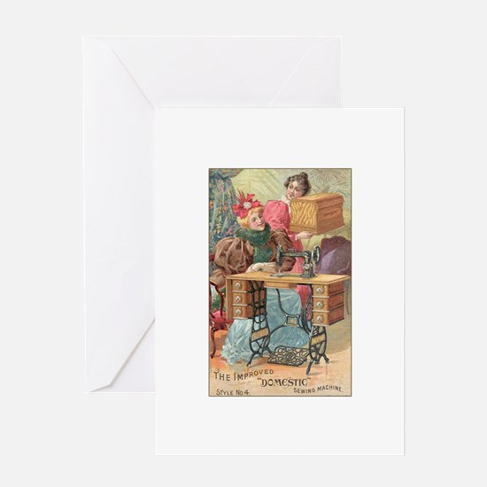 Vintage Sewing Machine Ad Greeting Card