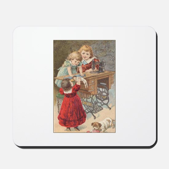 Children at Sewing Machine Mousepad