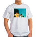 Crazy Flame Motorcycle Man on Light T-Shirt