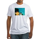 Crazy Flame Motorcycle Man on Fitted T-Shirt