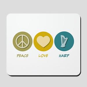 Peace Love Harp Mousepad