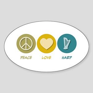 Peace Love Harp Oval Sticker