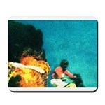 Crazy Flame Motorcycle Man on Mousepad