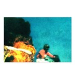 Crazy Flame Motorcycle Man on Postcards (Package o