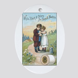 Children - Vintage Thread Ad Oval Ornament
