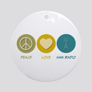 Peace Love Ham Radio Ornament (Round)