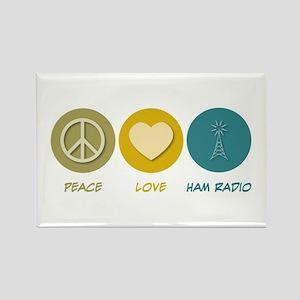 Peace Love Ham Radio Rectangle Magnet