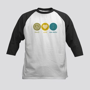Peace Love Ham Radio Kids Baseball Jersey