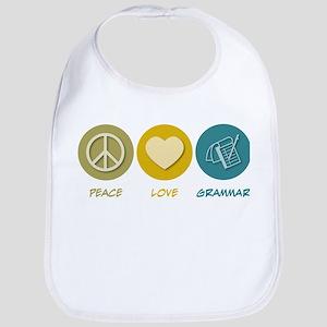 Peace Love Grammar Bib